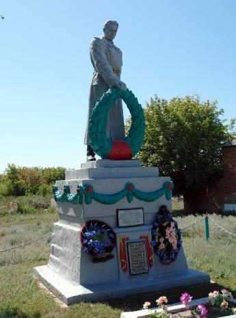с. Тополи Двуречанского р-на. Памятник установлен на братской могиле, в которой похоронено 6 советских воинов