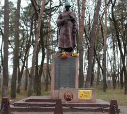 г. Дергачи. Памятник по переулку Сосновый, установлен на братской могиле, в которой похоронено 46 советских воинов погибших при освобождении города
