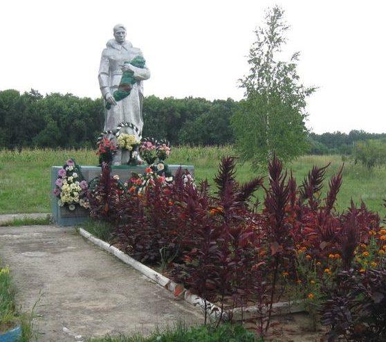 с. Верхний Салтов Волчанского р-на. Памятник на окраине села, установленный на братской могиле, в которой похоронено 153 советских воинов, погибших при обороне и освобождении села