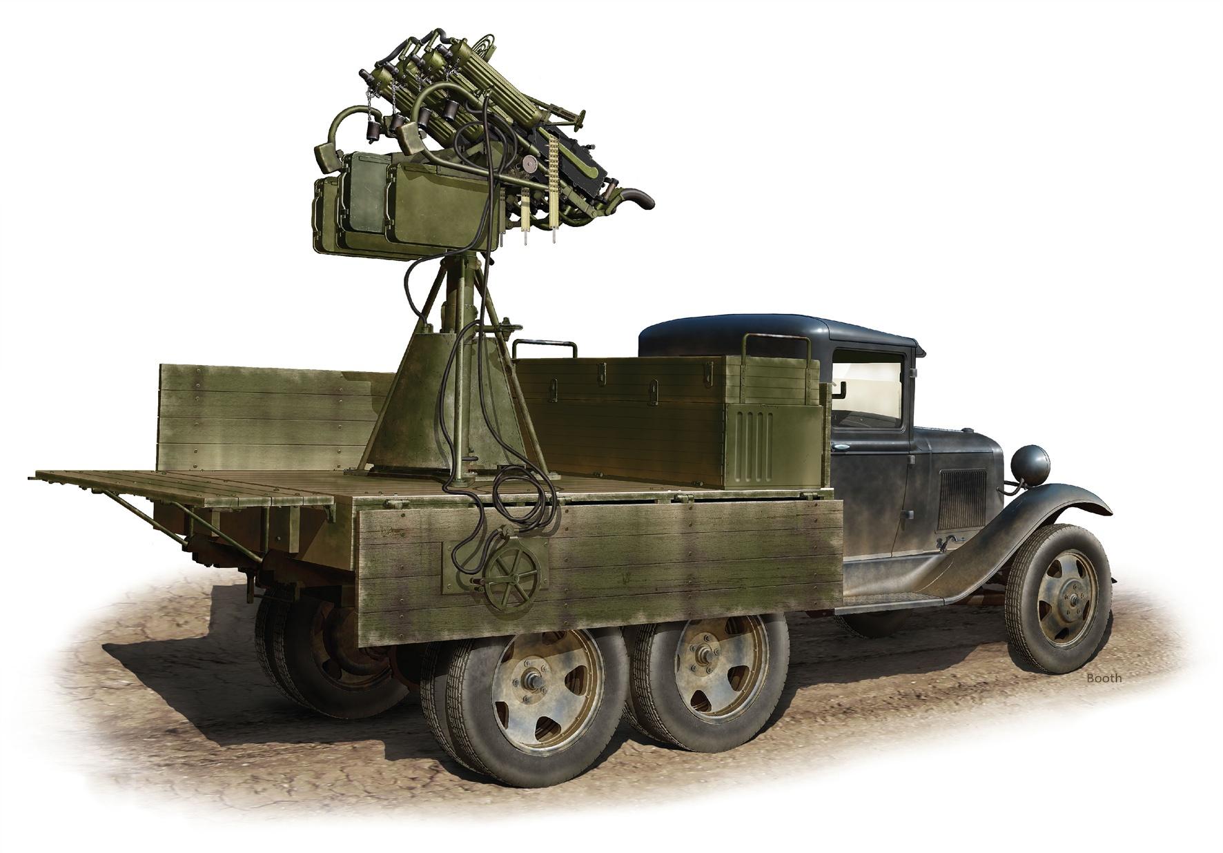 Бут Владимир. ГАЗ-ААА с зенитной пулеметной установкой.