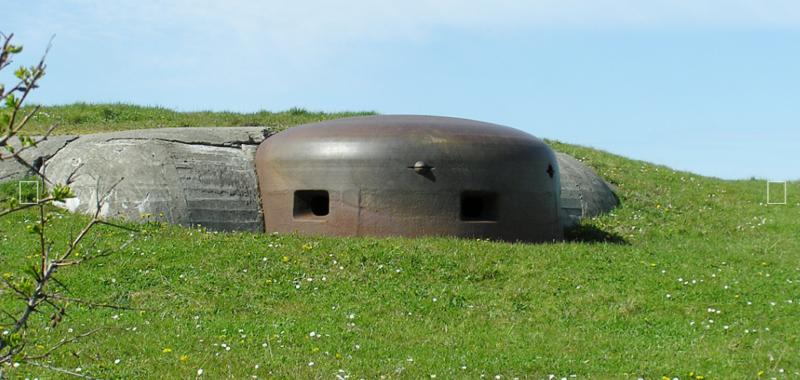 Башни дотов, защищающих батарею с суши.