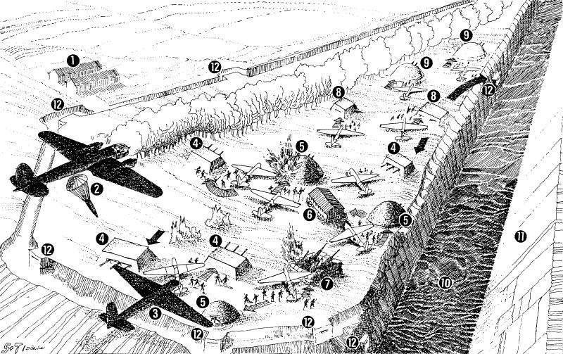 Рисунок-схема десанта на Эбен-Эмаэль, опубликованный в немецкой печати, пропагандирующей успех Германии. (1 - деревянные строения, 2 - Не-111, сбрасывающий контейнер с припасами, 3 - планер DSF230 при посадке, 4 - артиллерийский объект, 5 - арт. броневая башня, 6 - деревянное строение, 7 - MICA, 8 - пулеметный объект, 9 - ложный объект, 10 - канал Альберта, 11 - скалистая стена, 12 - капониры)