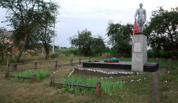 п. Краснокутск. Памятник по улице Красных партизан, установлен на братской могиле советских воинов