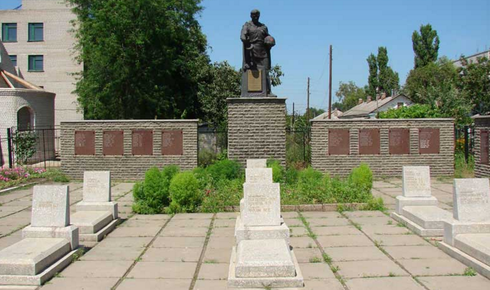п. Купянск-Узловая Купянского р-на. Мемориальном кладбище советских воинов и железнодорожников на площади Советской, где в братской могиле похоронено 156 человек