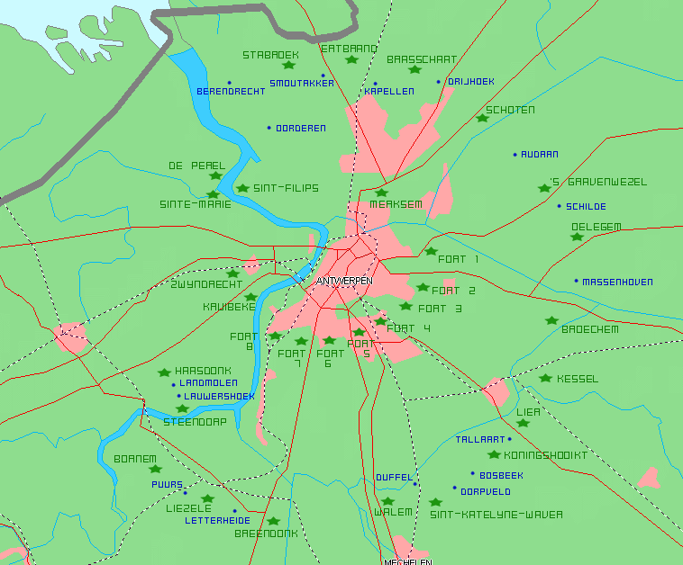 Карта-схема укреплений Антверпена. Зеленым шрифтом обозначены форты, синим – редуты и опорные укрепленные пункты.