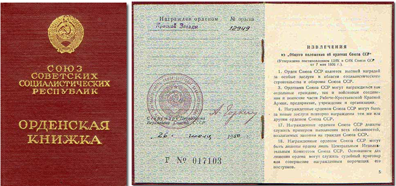 Орденская книжка к ордену Красной Звезды.