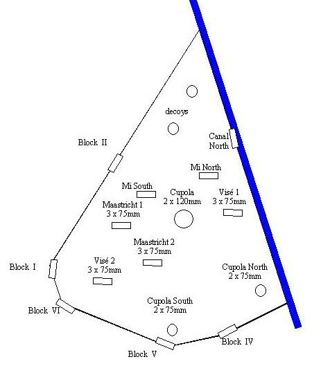 Схема форта Эбен-Эмаль. Синим цветом обозначено Альберт-канал.