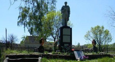 с. Терновая Харьковского р-на. Памятник установлен на братской могиле, в которой похоронено 253 советских воина, погибших в годы войны