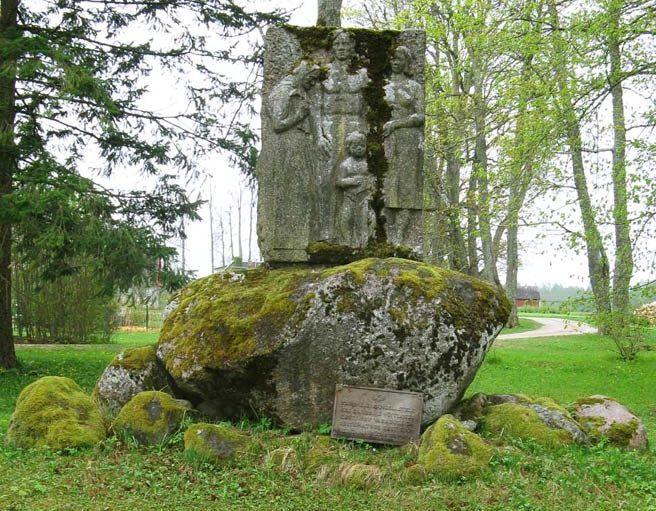 д. Кудина, Паламусе волость. Братская могила в парке культуры мызы Кудина, в которой похоронен 21 воин