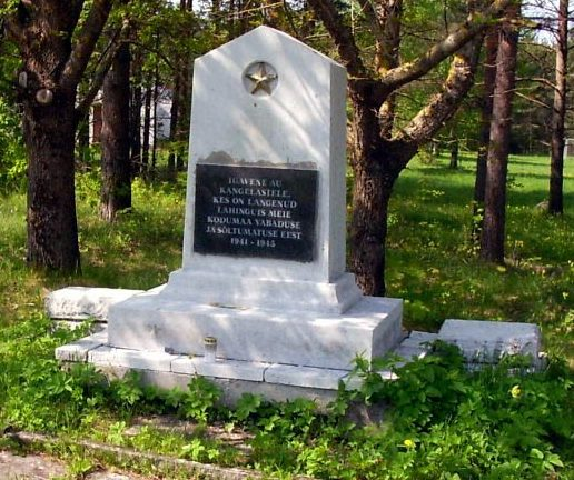 п. Тууди, Лихульская волость. Памятник на братской могиле советских воинов