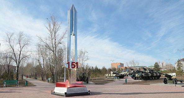 г. Костанай. Стела, посвященная 151-й костанайской дивизии была установлена к 70-летию Победы в городском парке.