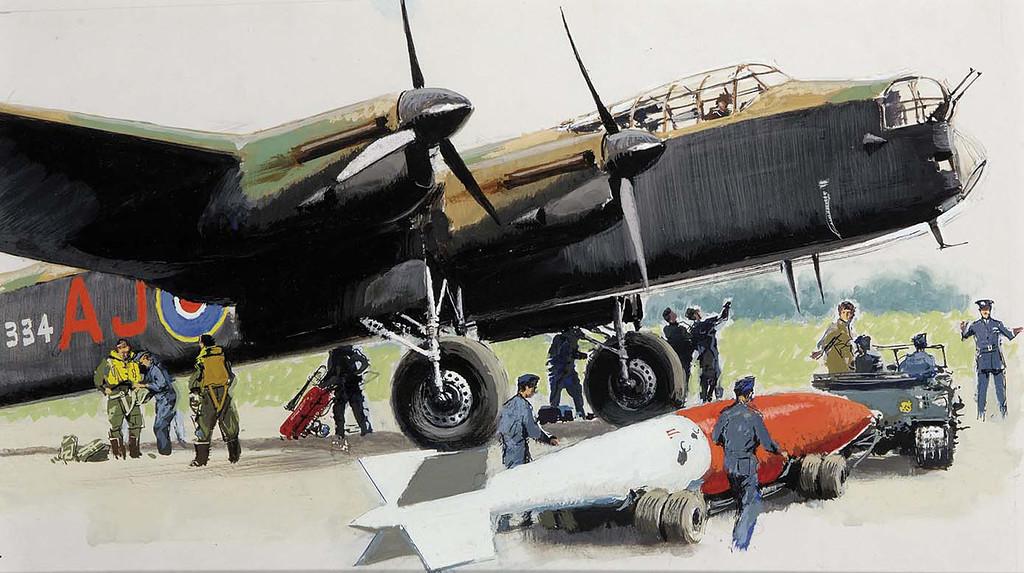 Brenet Albert. Погрузка бомбы в «Lancaster».
