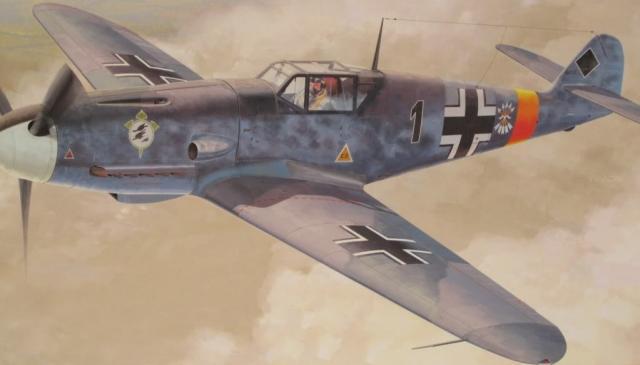 Hasegawa Box Art. Messerschmitt Bf 109 F-2 (Голубой Гладиатор).