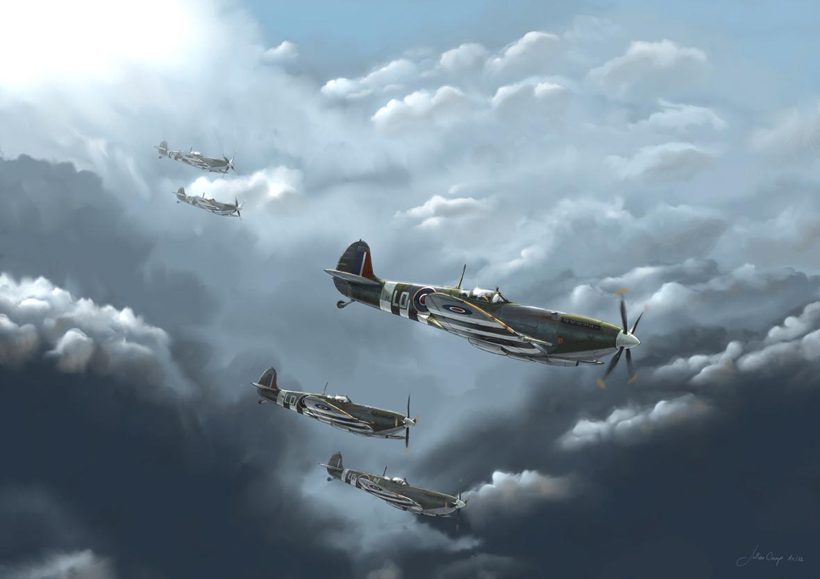 Camp Julien. Истребители Spitfire LF IXC.
