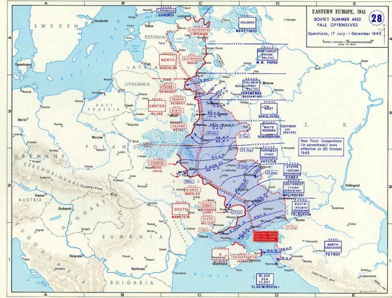 Карта Восточного фронта в июле-декабре 1943 года. Линия Пантера - Вотан указана красным зигзагом.