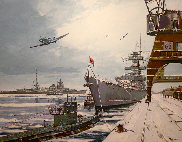 Guyot Michel. Крейсер «Admiral Hipper» и подлодка VII серии.