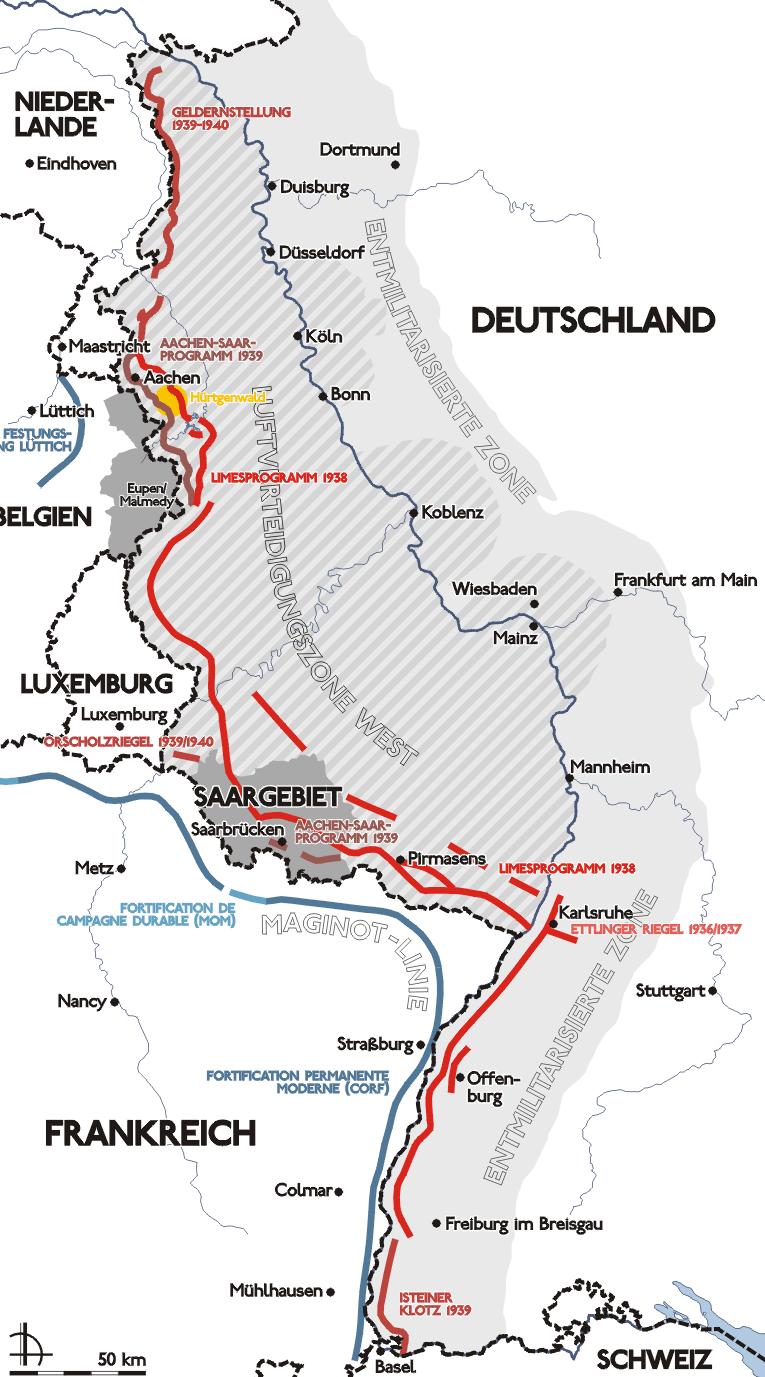 Карта-схема линии Зигфрида.