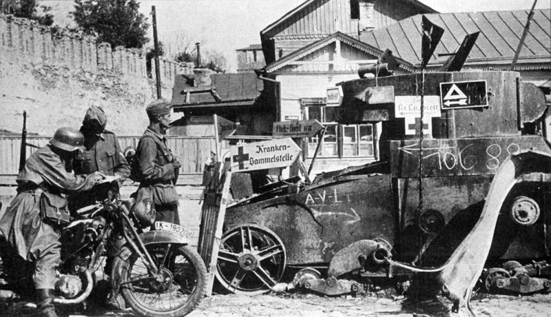 Мотоцикл DKW NZ-350 в Смоленске. 1941 г.