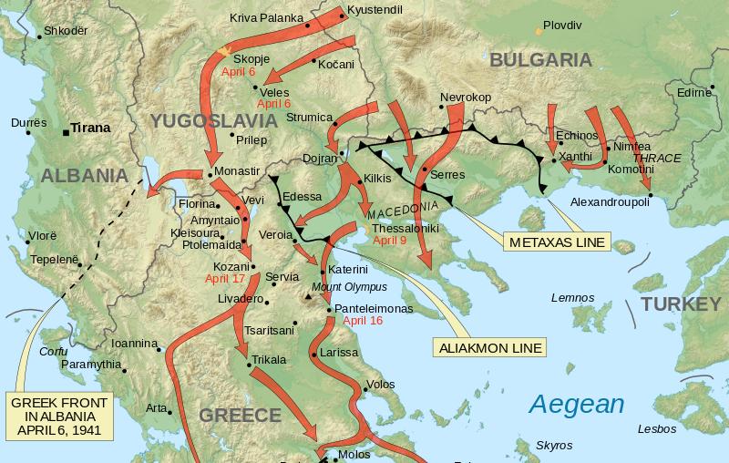 Карта битвы за Грецию и размещения оборонительных линий.