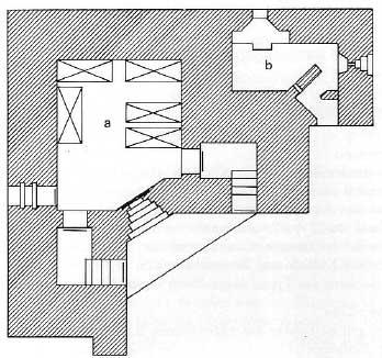 План ДОТа типа R10 с боевым отделением.