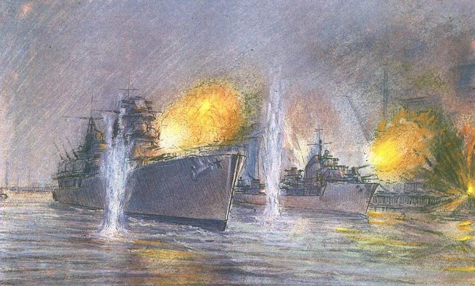 Боим Соломон. Крейсер «Максим Горький» и эсминец «Сметливый» ведут огонь.