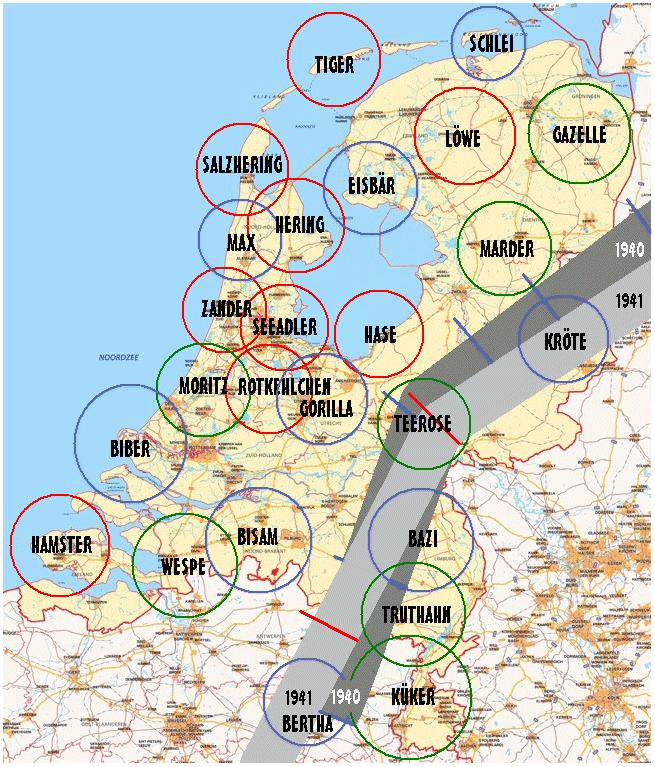 Зоны Линии Каммхубера в Нидерландах (1940 и 1941 гг.). Красным цветом обозначены радары первой очереди строительства, синим – второй, зеленым – третьей.