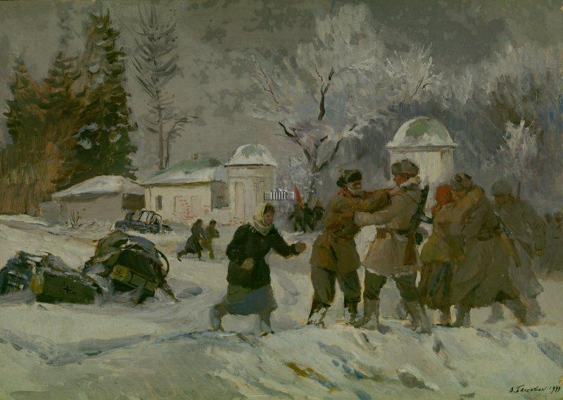 Баюскин Василий. Встреча Красной Армии в Ясной Поляне.