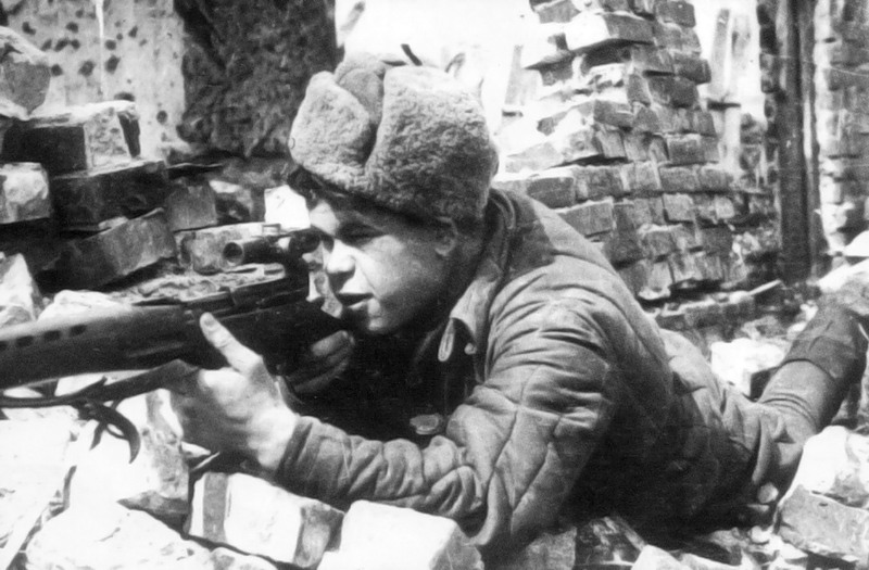 Николай Ильин на боевой позиции.