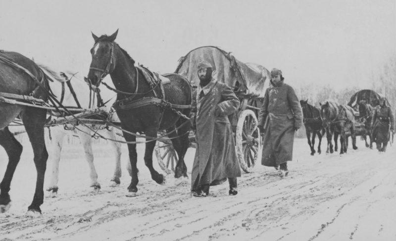 Обоз в Подмосковье. 1941 г.