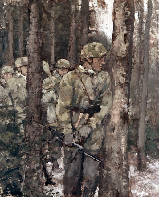 Hierl Alfred. Пехота в лесу.
