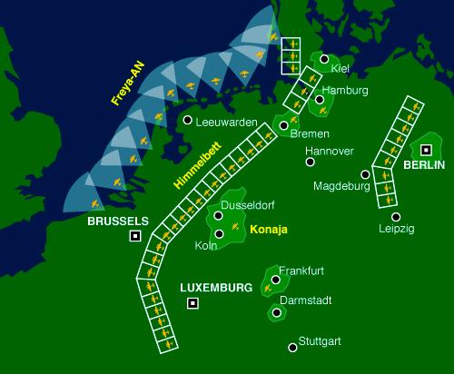 Карта-схема организации ПВО Германии.
