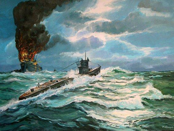 Guyot Michel. Подлодка U-99 на транспорт.