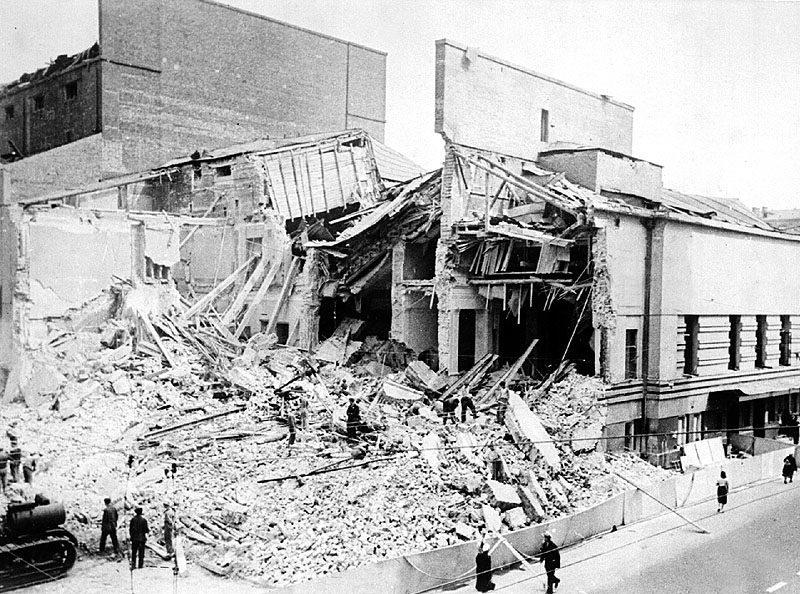 Руины театра Вахтангова на Арбате. 23 июля 1941 г.