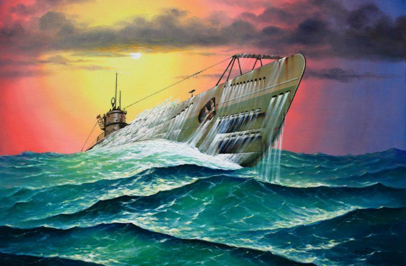 Бекиров Сеяр. Подлодка «U-571» в бурном море.