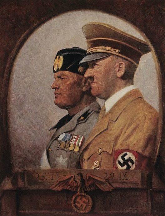 Ottomar Anton. Адольф Гитлер и Бенито Муссолини.