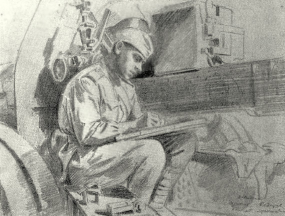 Авакумов Николай. Наводчик сержант Н. Федотов.