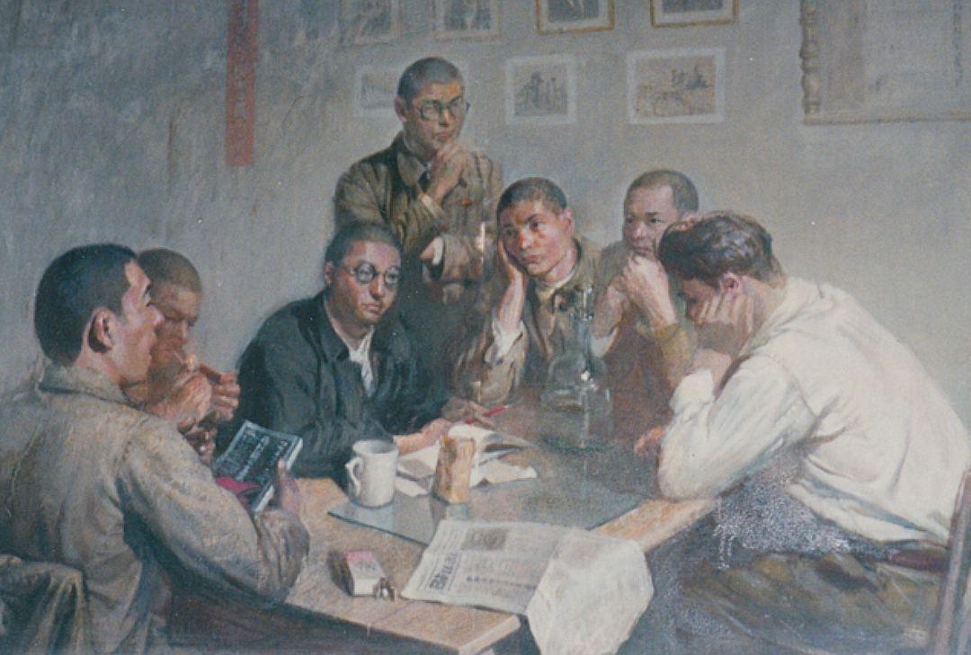 Занятие по политическому просвещению военнопленных японцев. Картина нарисована одним из узников.