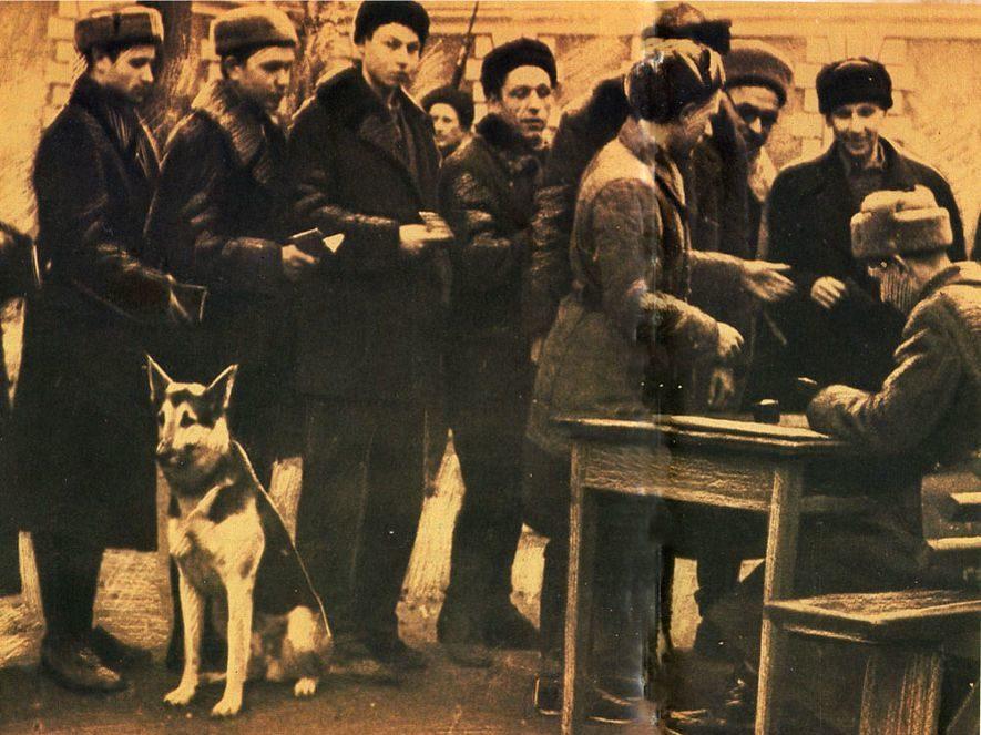 Запись в Рабочий батальон Тимирязевского Народного ополчения. Октябрь, 1941 г.