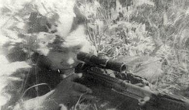 Снайпер старшина Д. Гуляев. Западный фронт. 1942 г.