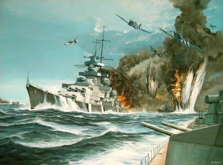 Guyot Michel. Атака на линкор «Gneisenau».