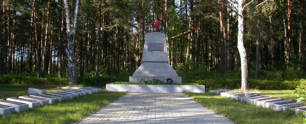 д. Капчяместис Ладзийского р-на. Памятник на кладбище, установленный на братской могиле 443 воинов, в т.ч. 92 неизвестных, погибших в годы войны.