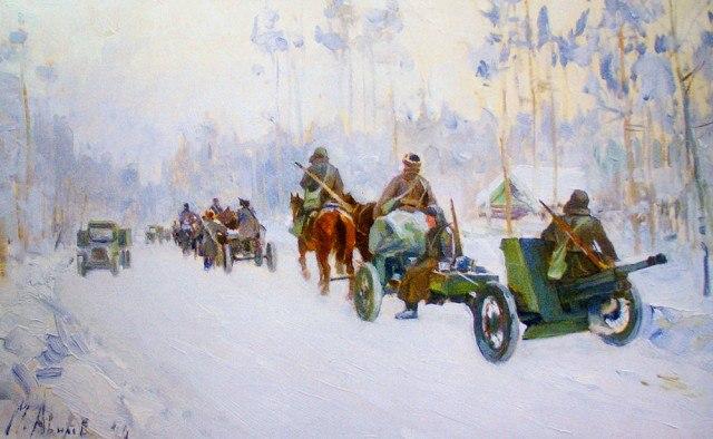 Авилов Михаил. Противотанковая артиллерия на марше.