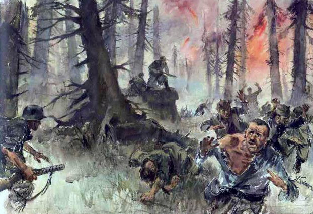 Liska Hans. Бой в лесу.