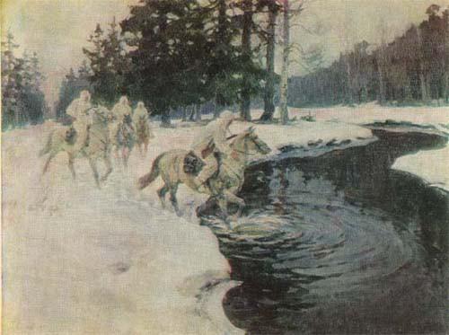 Авилов Михаил. Конные разведчики зимой.