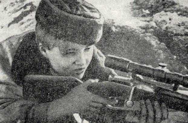 Снайпер Мария Кошкина. Ленинградский фронт.