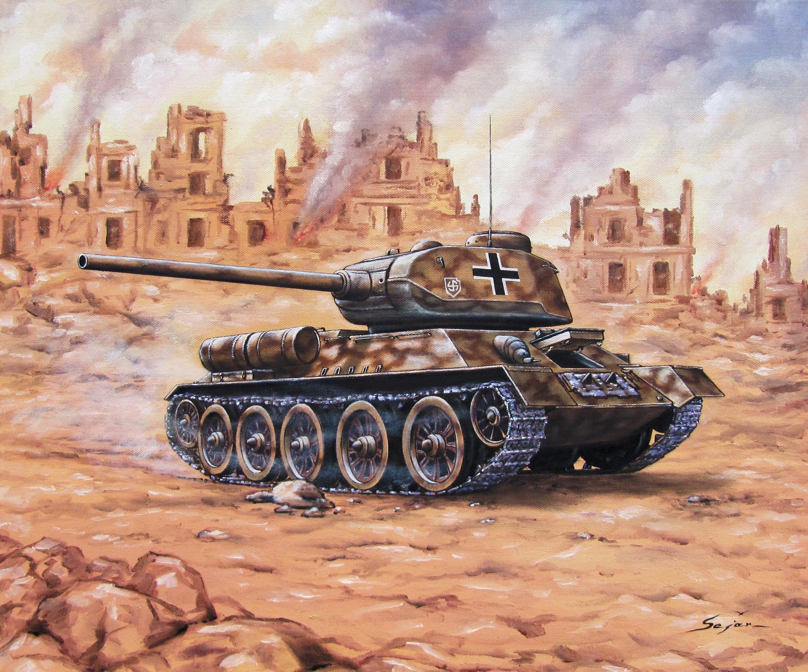 Бекиров Сеяр. Трофейный танк Т-35/85.