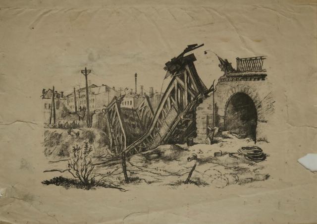 Боровская Анна. Взорванный мост через реку Орлик. 1943 г.