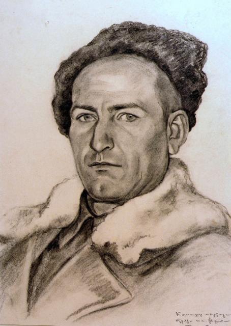 Боровская Анна. Портрет командира партизанского отряда Поддубина 1942.