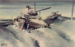 Schneider Hermann. Поврежденные танки у поселка Белый Верх.