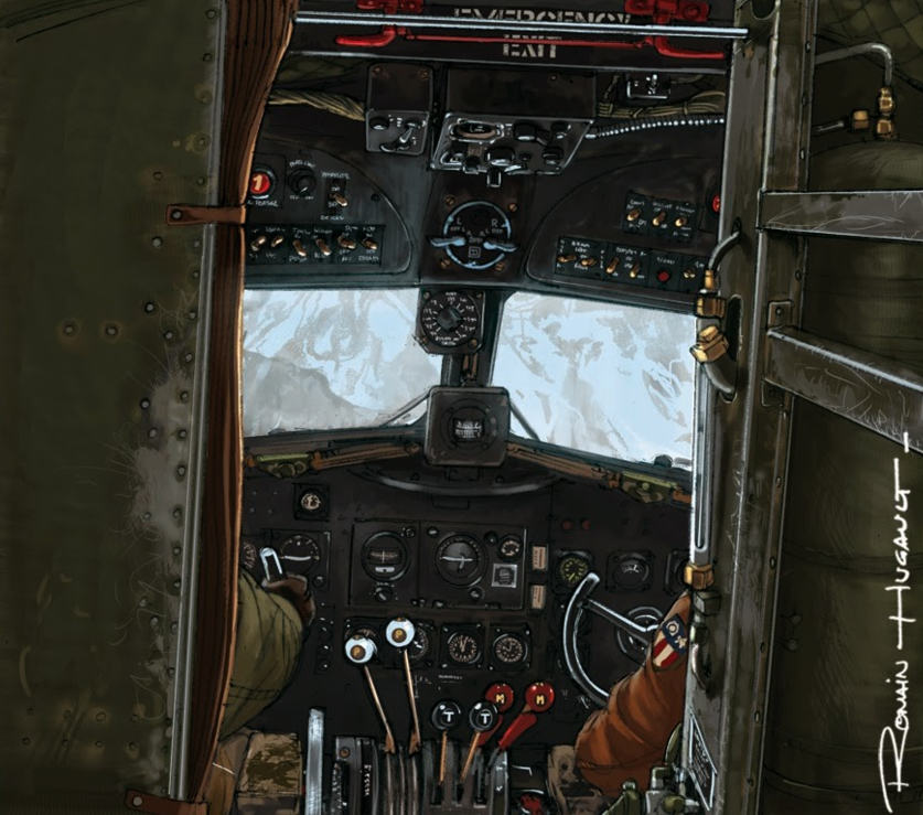 Hugault Romain. В кабине самолета.